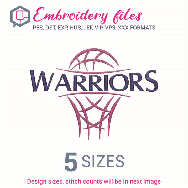 Warriors team Basketball Embroidery in DST, EXP, HUS, JEF, PCS, PES, SEW, VIP, VP3 & XXX - rhinestone templates