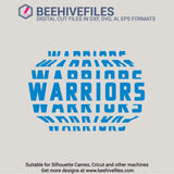 Warriors team name stacked 6 styles in svg, dxf, png, ai, eps format - rhinestone templates