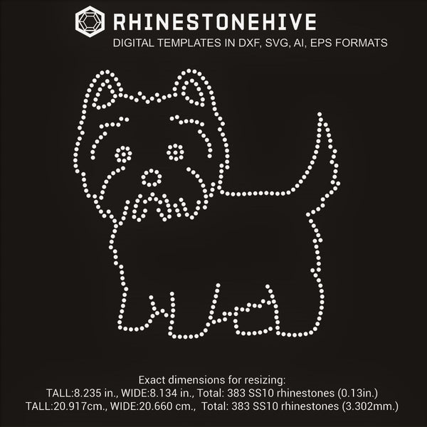 West Highland Terrier rhinestone template svg, eps, png, dxf digital download - rhinestone templates