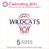 Wildcats team Basketball Embroidery in DST, EXP, HUS, JEF, PCS, PES, SEW, VIP, VP3 & XXX - rhinestone templates