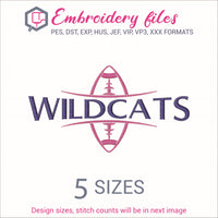 Wildcats Football Ball Embroidery in DST, EXP, HUS, JEF, PCS, PES, SEW, VIP, VP3 & XXX - rhinestone templates