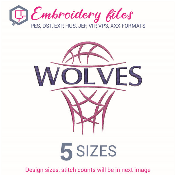 Wolves team Basketball Embroidery in DST, EXP, HUS, JEF, PCS, PES, SEW, VIP, VP3 & XXX - rhinestone templates