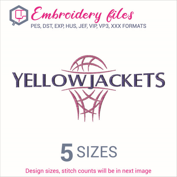 Yellowjackets team Basketball Embroidery in DST, EXP, HUS, JEF, PCS, PES, SEW, VIP, VP3 & XXX - rhinestone templates