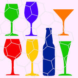 Bottles glasses party, beer bottle, wine, in svg, dxf, png, eps format - rhinestone templates