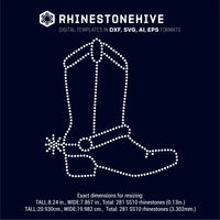 Cowboy's, cowgirl's shoe  rhinestone template digital download, ai, svg, eps, png, dxf - rhinestone templates