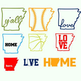 Arkansas state, baseball, basketball, home, love, jeep, y'all in svg, dxf, png, eps format - rhinestone templates
