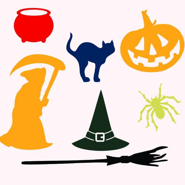 Halloween theme: cat, broom, bowl, hat, spider, pumpkin in svg, dxf, png, eps format - rhinestone templates