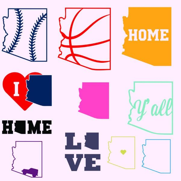 Arizona state, baseball, basketball, home, love, jeep, y'all in svg, dxf, png, eps format - rhinestone templates