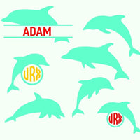 Dolphin, dolphin monogram in svg, dxf, png, eps format - rhinestone templates