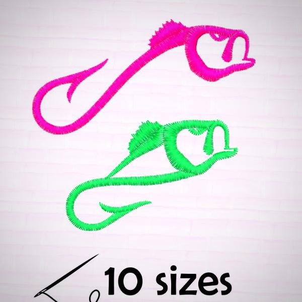 Fish hook 2 designs Embroidery files - rhinestone templates