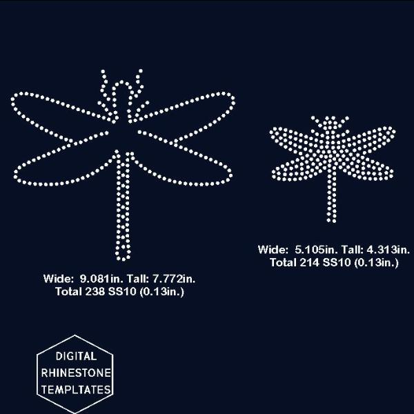 Dragonfly rhinestone template, svg, eps, png, dxf - rhinestone templates