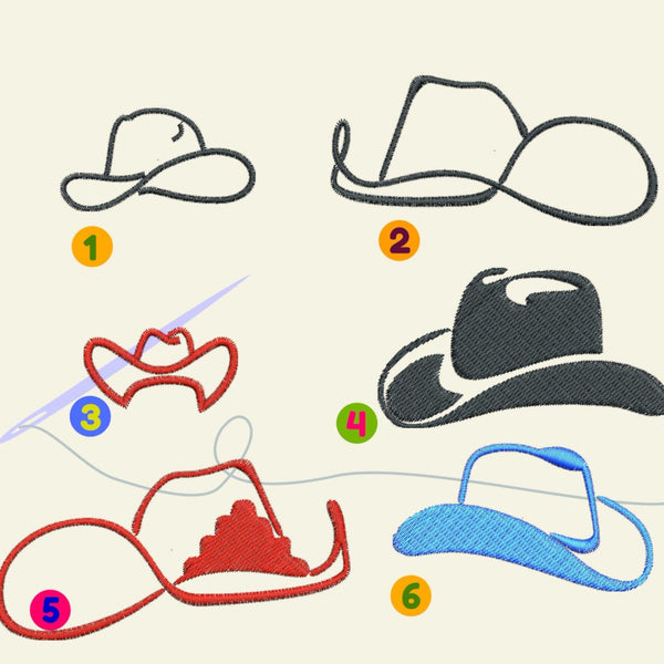 Hat, Hats, Cowboy, Cowgirl hat Embroidery files - rhinestone templates