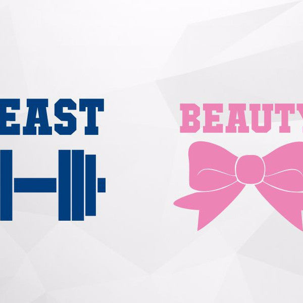 Beauty and the beast in svg, dxf, png format - rhinestone templates