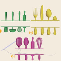 Kitchen utensils Embroidery files - rhinestone templates