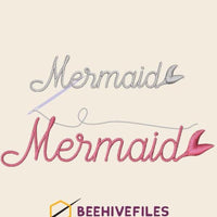 Mermaid Embroidery files - rhinestone templates