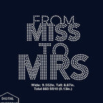 From Miss to Mrs rhinestone template digital download, svg, eps, png, dxf - rhinestone templates