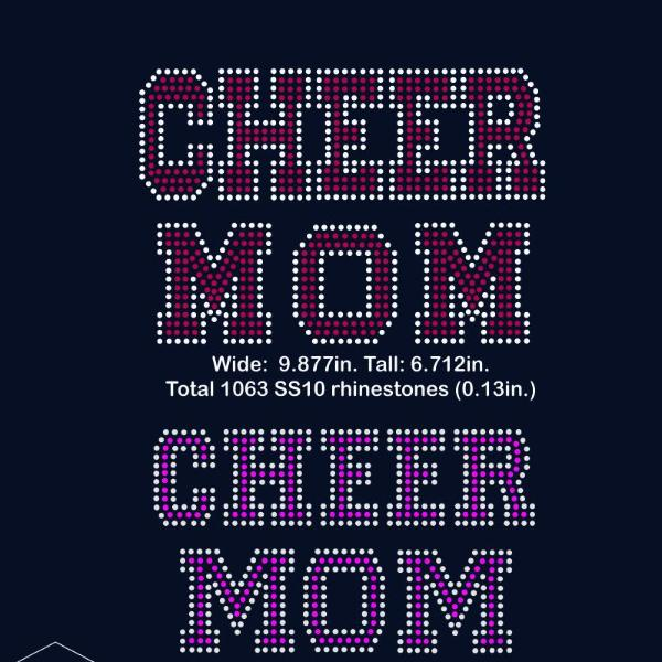 Cheer MOM rhinestone template digital download, svg, eps, png, dxf - rhinestone templates