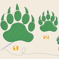Paw wildcat paw Embroidery files - rhinestone templates