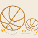 Basketball ball 3 sizes Embroidery files 3 sizes - rhinestone templates