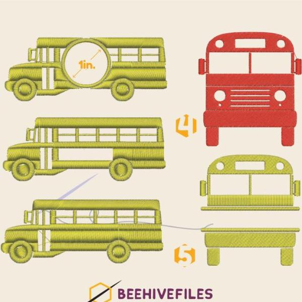 School bus Embroidery files - rhinestone templates