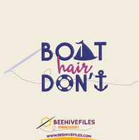 Boat Hair Don't Care Embroidery files - rhinestone templates