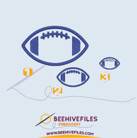 American football ball Embroidery files - rhinestone templates