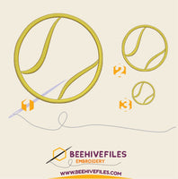 Tennis ball Embroidery files - rhinestone templates