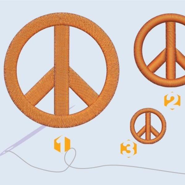 Peace sign Embroidery files SS10