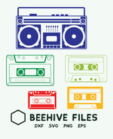 Boom box, casettes in svg, dxf, png,format. Instant download - rhinestone templates