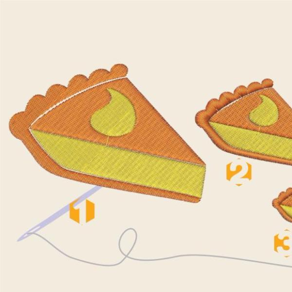 Pumpkin pie slice Embroidery files - rhinestone templates