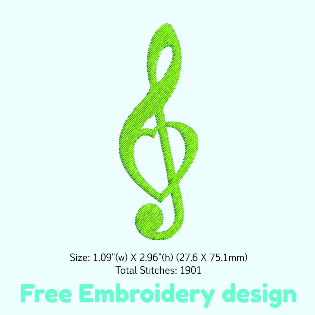 Free Treble Clef Embroidery File Beehivefiles