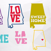 Alabama state, home sweet alabama, love, home in svg, dxf, png format - rhinestone templates