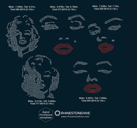 Marilyn Monroe face rhinestone templates digital download, svg, eps, png, dxf - rhinestone templates
