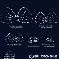 Cute Bows bundle rhinestone template digital download, ai, svg, eps, png, dxf - rhinestone templates