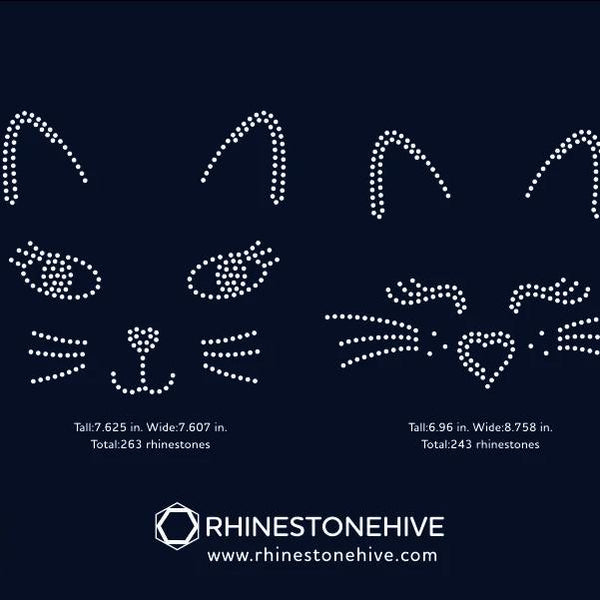 2 Cat faces rhinestone template digital download, ai, svg, eps, png, dxf - rhinestone templates