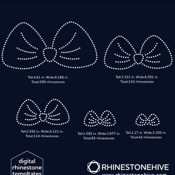 Cute Bows bundle rhinestone template digital download, ai, svg, eps, png, dxf
