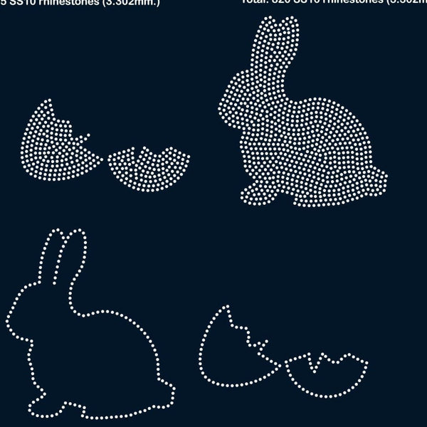 Easter Rabbit, egg rhinestone template digital download, svg, eps, ai, png, dxf - rhinestone templates