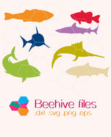 Fish silhouettes in svg, dxf, png format - rhinestone templates
