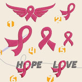 Cancer ribbon Embroidery files - rhinestone templates