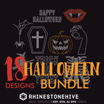 Halloween bundle rhinestone template svg, eps, png, dxf