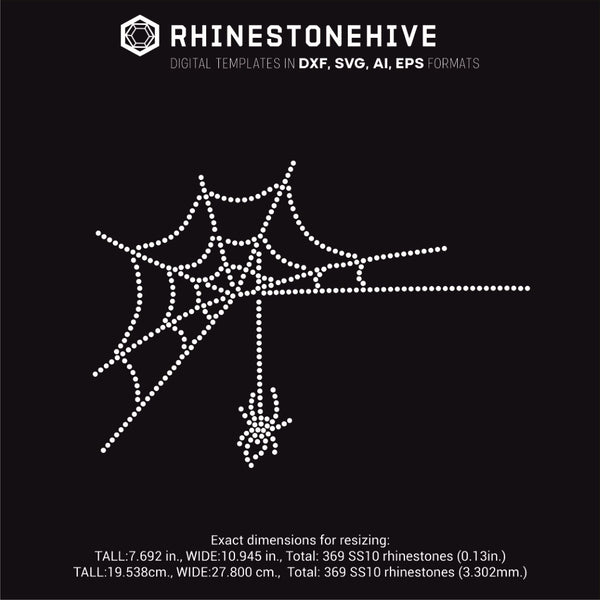 Halloween spider web rhinestone template svg, eps, png, dxf - rhinestone templates