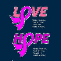 Hope, Love cancer awareness ribbon Vinyl and rhinestone template, svg, eps, png, dxf - rhinestone templates