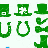 St. Patrick day, hat ,shamrock, pipe, horseshoe in svg, dxf, png, eps format. Instant download for Cricut and Silhouette Studio - rhinestone templates