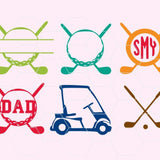 Golf, golf game, split name tag, golf dad in svg, dxf, png format - rhinestone templates
