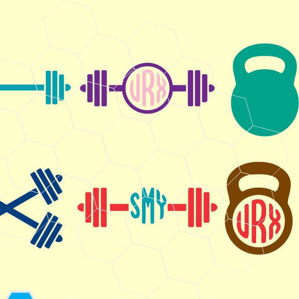 Barbell, Weights, Fitness, monogram  in svg, dxf, png format - rhinestone templates