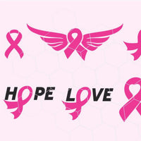 Cancer awareness ribbon,hope, love, bow, wings  in svg, dxf, png, eps format - rhinestone templates