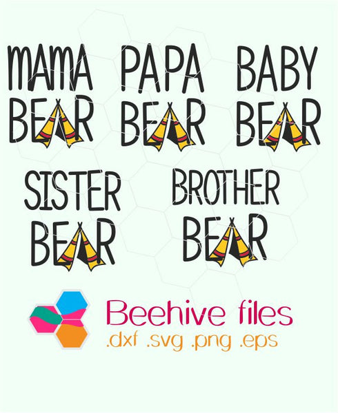 Bear family, mama bear, papa bear, baby bear, sister, brother, bear in  svg, dxf, png - rhinestone templates