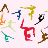Gymnasts silhouettes in  svg, dxf, png format - rhinestone templates