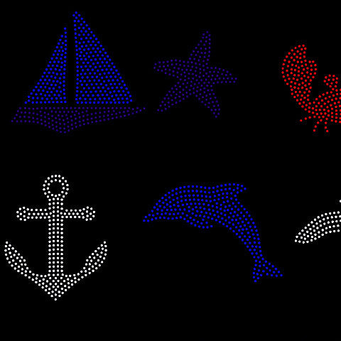 Nautical, anchor, sea star, crab, yacht, dolphin rhinestone template digital download, svg, eps, studio3, png, dxf SS10