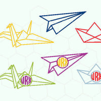 Paper plane, paper boat, paper swan, monogram  in svg, dxf, png, eps format - rhinestone templates